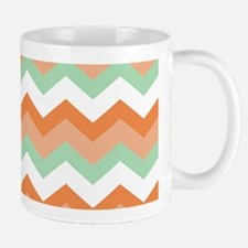 Soft Green and Peachy Coral Zigzags Mugs