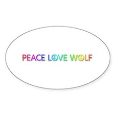 Peace Love Wolf Oval Decal