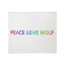 Peace Love Wolf Throw Blanket