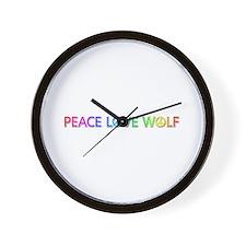 Peace Love Wolf Wall Clock