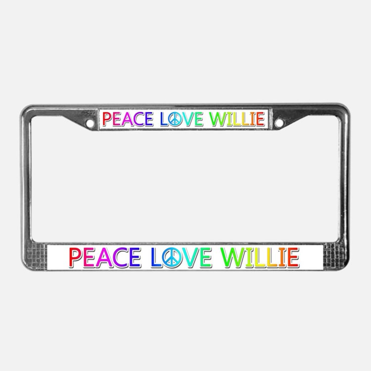 Peace Love Willie License Plate Frame