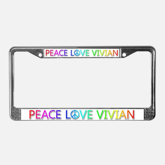 Peace Love Vivian License Plate Frame