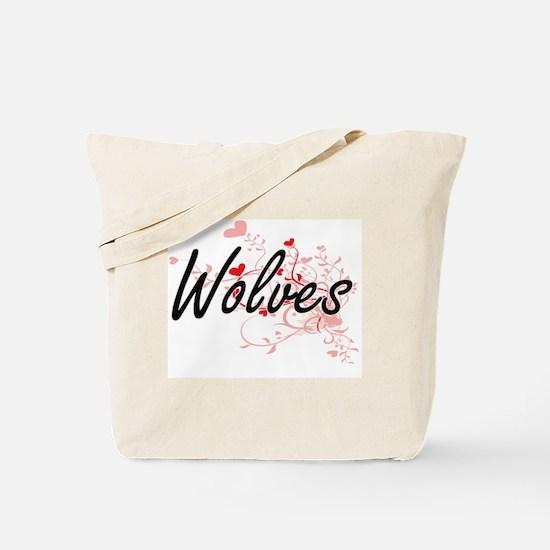 Wolves Heart Design Tote Bag