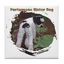 Garden Portuguese Water Dog Tile Coaster