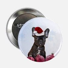 "Christmas French Bulldog 2.25"" Button"