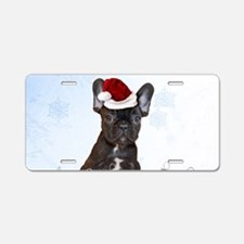 Christmas French Bulldog Aluminum License Plate