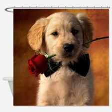 Cute Puppy With Rose Shower Curtain