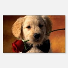 Cute Puppy With Rose Decal