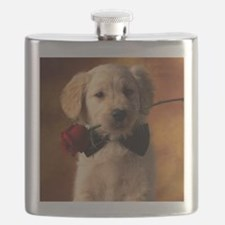 Cute Puppy With Rose Flask