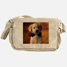 Cute Puppy With Rose Messenger Bag