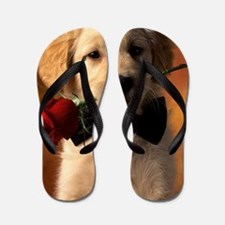 Cute Puppy With Rose Flip Flops