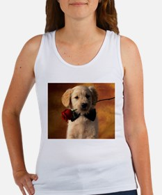 Cute Puppy With Rose Tank Top