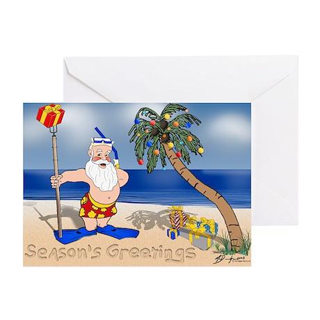 Tropical Santa Claus Christmas Cards (Pk of 10)