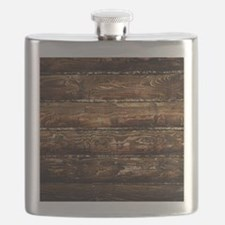 DARK STAINED WOOD WALL Flask