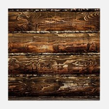 DARK STAINED WOOD WALL Tile Coaster