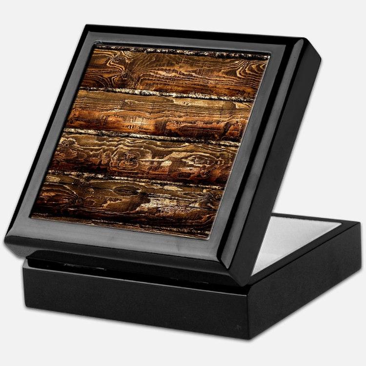 DARK STAINED WOOD WALL Keepsake Box