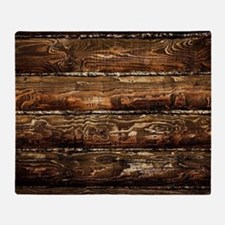 DARK STAINED WOOD WALL Throw Blanket