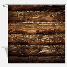 DARK STAINED WOOD WALL Shower Curtain