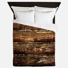DARK STAINED WOOD WALL Queen Duvet