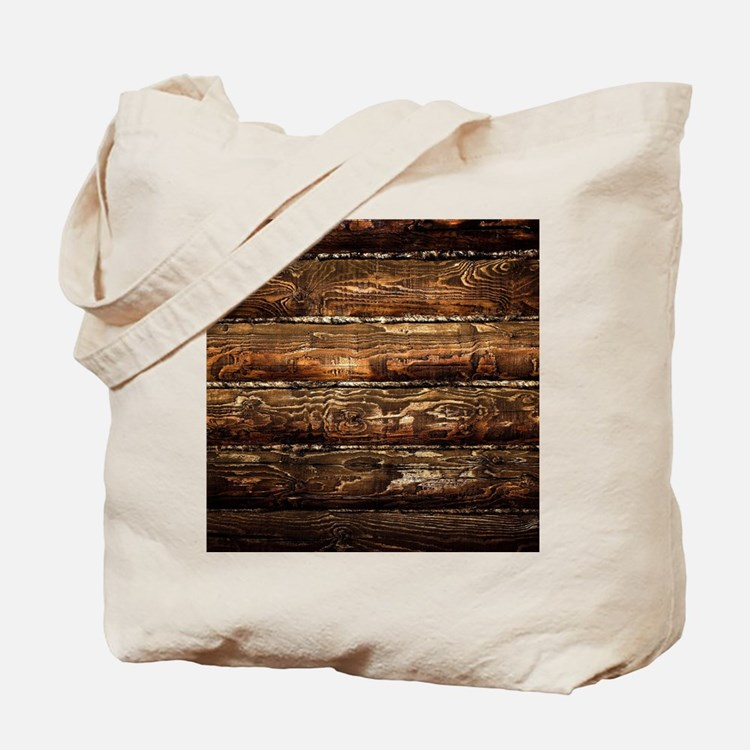 DARK STAINED WOOD WALL Tote Bag
