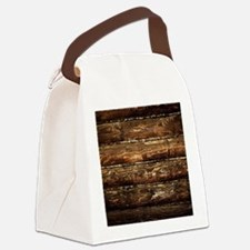 DARK STAINED WOOD WALL Canvas Lunch Bag