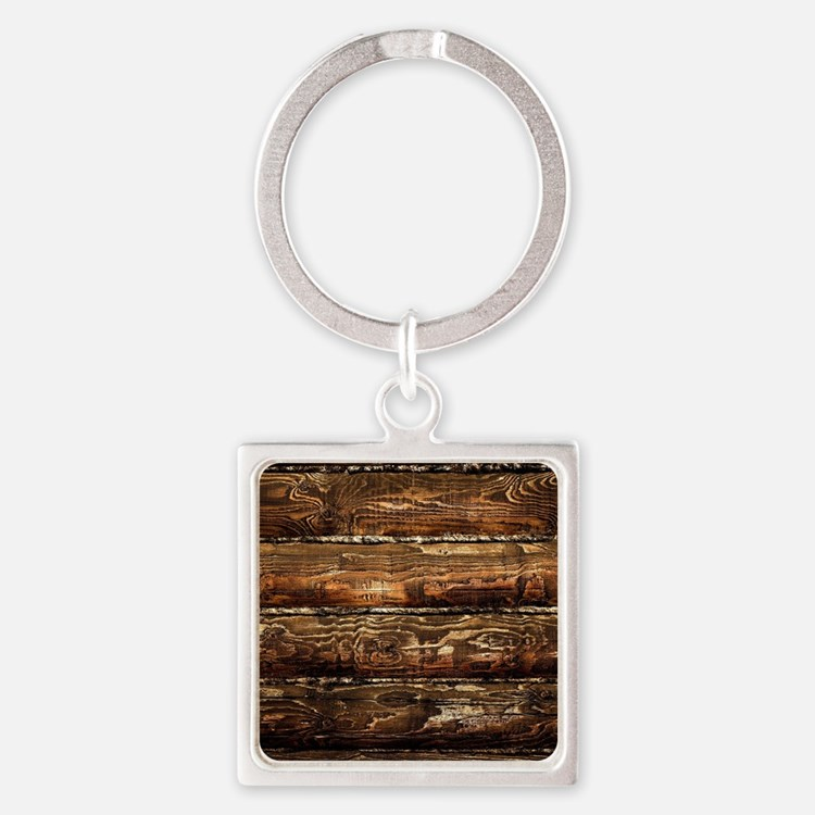 DARK STAINED WOOD WALL Square Keychain