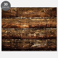 DARK STAINED WOOD WALL Puzzle