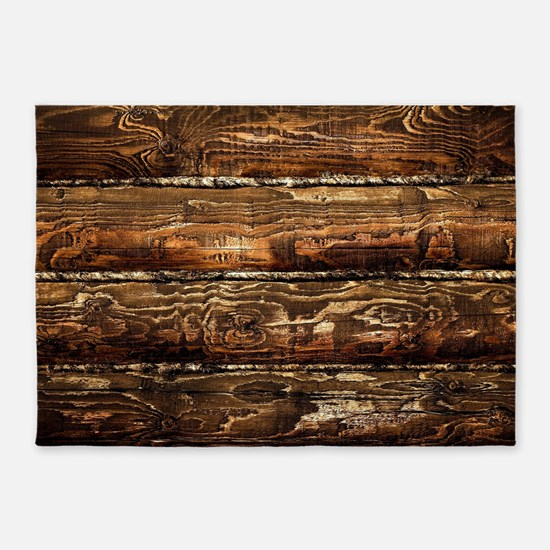DARK STAINED WOOD WALL 5'x7'Area Rug