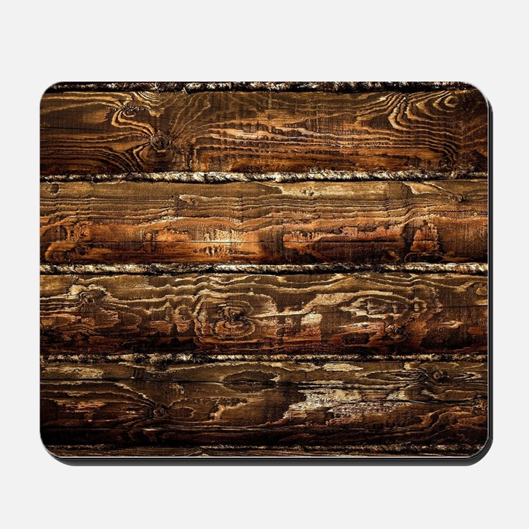 DARK STAINED WOOD WALL Mousepad
