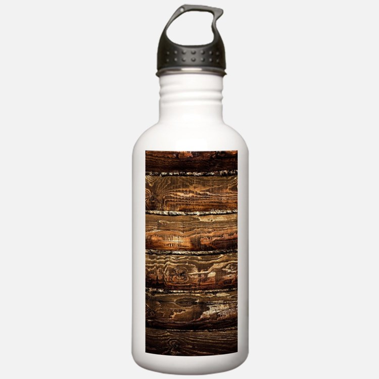 DARK STAINED WOOD WALL Water Bottle
