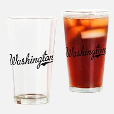 Washington Script Black Drinking Glass