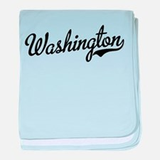 Washington Script Black baby blanket