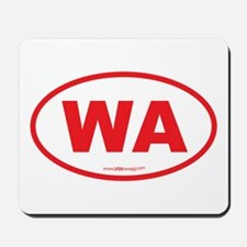 Washington WA Euro Oval RED Mousepad