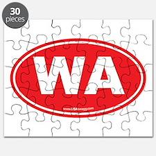 Washington WA Euro Oval RED Puzzle