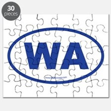 Washington WA Euro Oval BLUE Puzzle