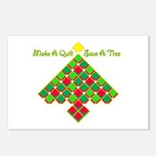 xmas treesave quilt gold Postcards (Package of 8)