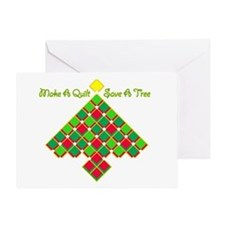 xmas treesave quilt gold clear Greeting Card