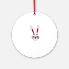 Nerd Rabbit Round Ornament