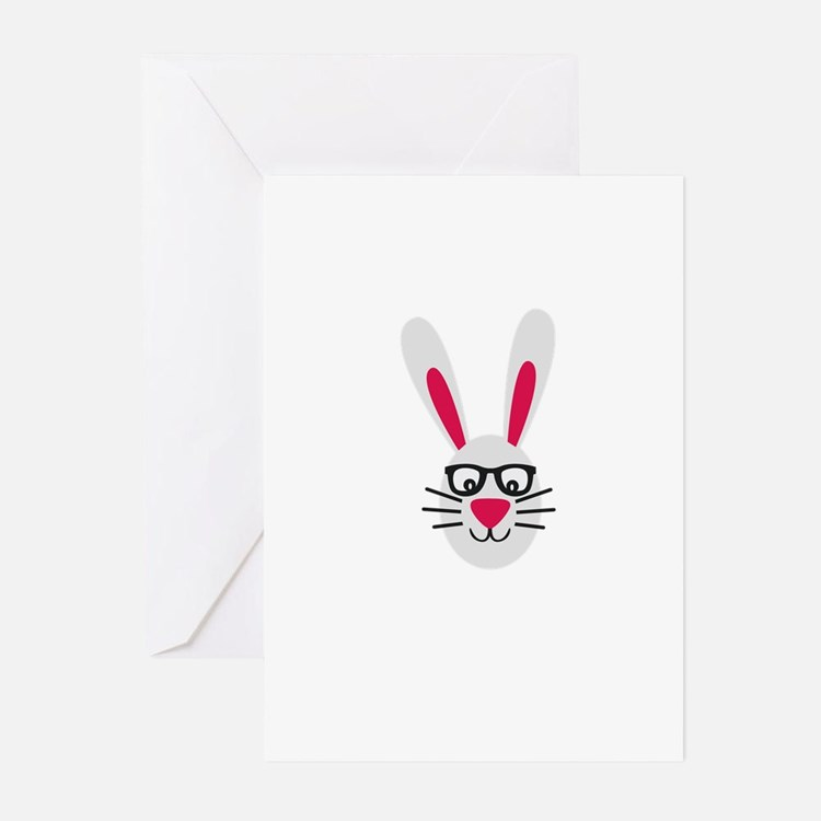 Nerd Rabbit Greeting Cards