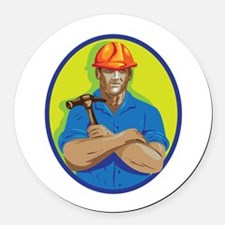 Construction Worker Foreman Arms Crossed WPA Round