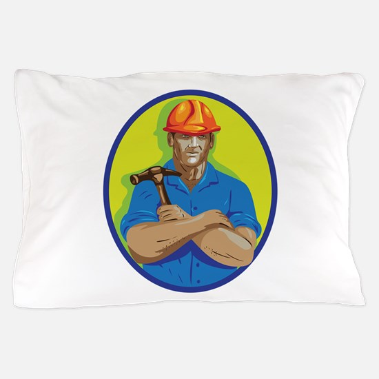 Construction Worker Foreman Arms Crossed WPA Pillo