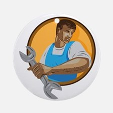 Mechanic Worker Holding Spanner Circle WPA Round O