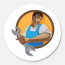 Mechanic Worker Holding Spanner Circle WPA Round C