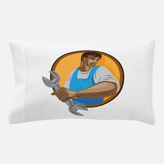 Mechanic Worker Holding Spanner Circle WPA Pillow