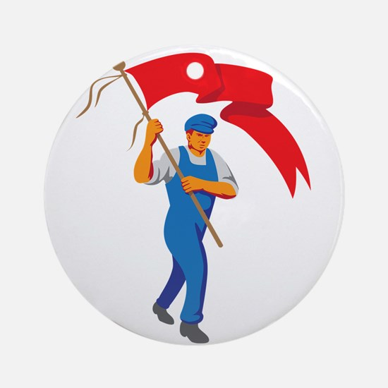 Worker Marching Flag Bearer WPA Round Ornament
