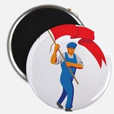 Worker Marching Flag Bearer WPA Magnets