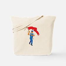 Worker Marching Flag Bearer WPA Tote Bag