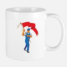 Worker Marching Flag Bearer WPA Mugs