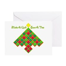xmas treesave quilt nb gold clear Greeting Card