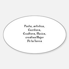 Poeta, artistica, Excritora, Oval Decal
